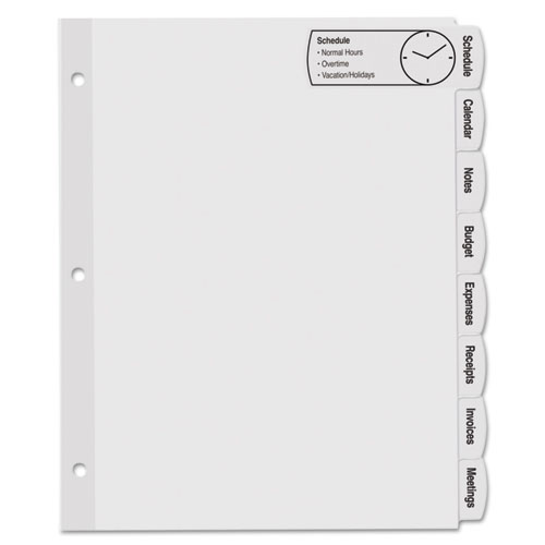 image regarding Printable Tab Dividers called Massive Tab Printable Higher White Label Tab Dividers, 8-Tab, Letter, 20 for every pack