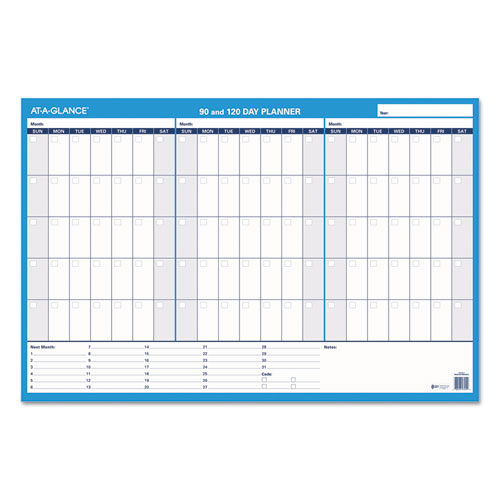 90/120-Day Undated Horizontal Erasable Wall Planner, 36 x 24, White/Blue, | by Plexsupply