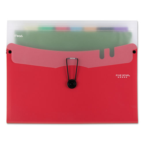 Horizontal Expanding File w/ Seven Removable Pockets, 7 Sections, 1/7-Cut Tab, Letter Size, Red