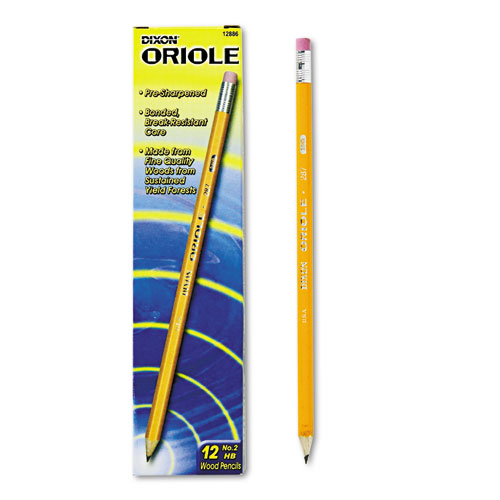 Dixon® Oriole Woodcase Presharpened Pencil, HB #2, Yellow, Dozen