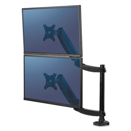 "Fellowes® Platinum Series Dual Stacking Monitor Arm, up to 27""/22 lbs, Clamp/Grommet, Black"