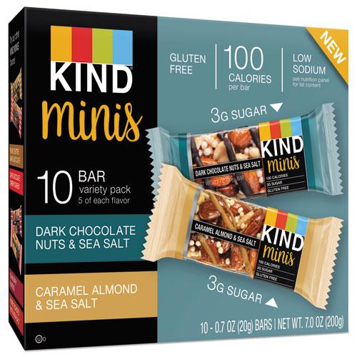 KIND Minis, Almond and Sea Salt, Dark Chocolate Nuts, Sea Salt Caramel, 0.7 oz, 10/PK
