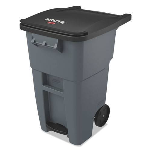 Rubbermaid® Commercial Brute Step-On Rollouts, Square, 50 gal, Gray