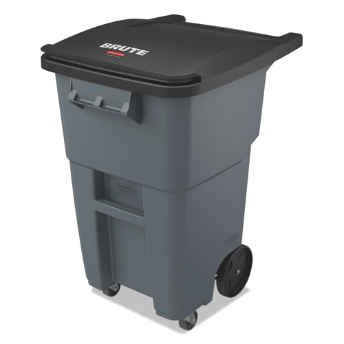 Rubbermaid® Commercial Brute Rollouts with Casters, Square, 65 gal, Gray