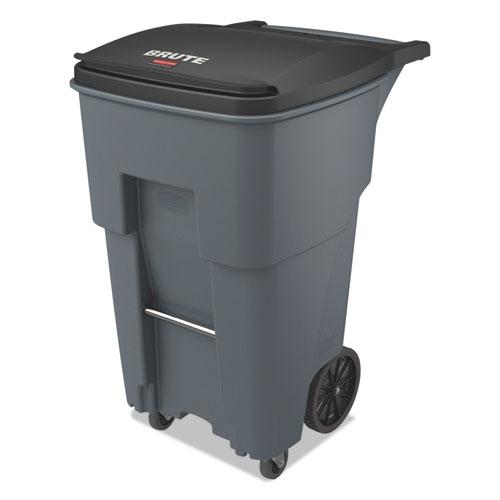 Brute Rollouts with Casters, Square, 65 gal, Gray