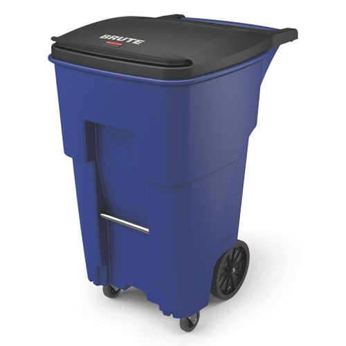 Brute Rollouts with Casters, Square, 65 gal, Blue
