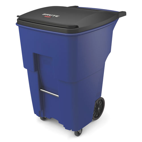 Brute Rollouts with Casters, Square, 95 gal, Blue