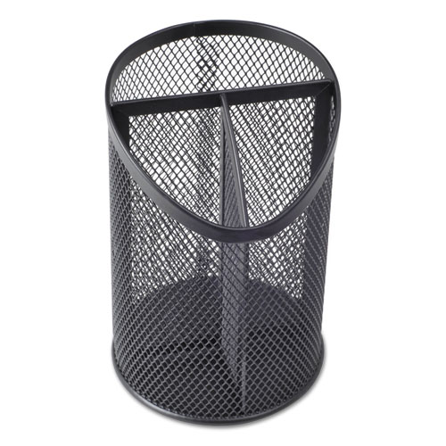 Metal Mesh 3-Compartment Pencil Cup, 4 1/8 dia, 6h, Black