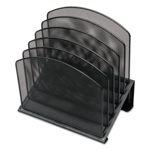 Metal Mesh Tiered File Sorter, 5 Sections, Letter to Legal Size Files, 11.25 x 7.5 x 11.25, Black