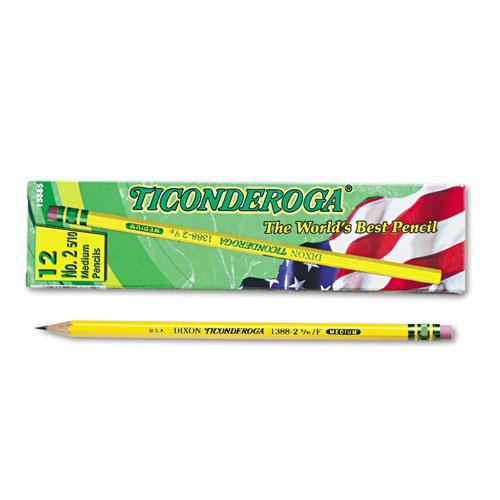 Pencils, F (#2.5), Black Lead, Yellow Barrel, Dozen | by Plexsupply