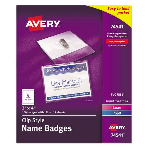 Avery® Badge Holder Kit w/Laser/Inkjet Insert, Top Load, 3 x 4, White, 40/Box