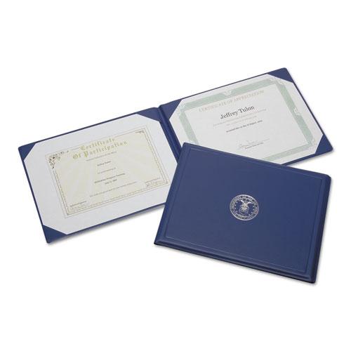 7510001153250 SKILCRAFT Award Certificate Binder, 8 1/2 x 11, Air Force Seal, Blue/Silver
