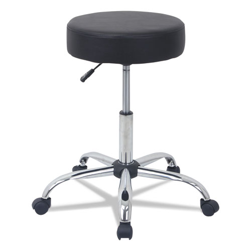 Height Adjustable Lab Stool, 24.38 Seat Height, Supports up to 275 lbs., Black Seat/Black Back, Chrome Base