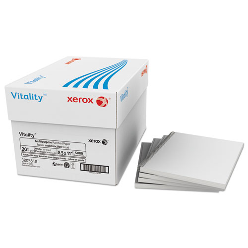 Xerox® Vitality Multipurpose Punched Paper, 44-Hole, 20lb, 8 1/2x11, White, 5000 Sheets