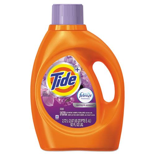 Tide® Plus Febreze Liquid Laundry Detergent, Spring & Renewal, 92oz Bottle, 4/Carton