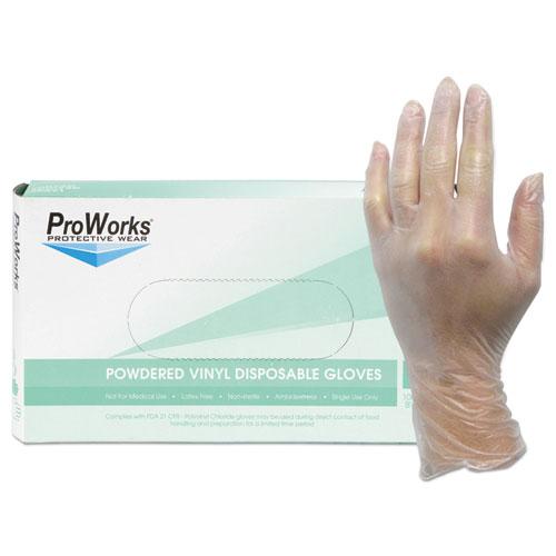 ProWorks Exam Grade Disposable Vinyl Gloves, Clear, Medium, 1000/Carton