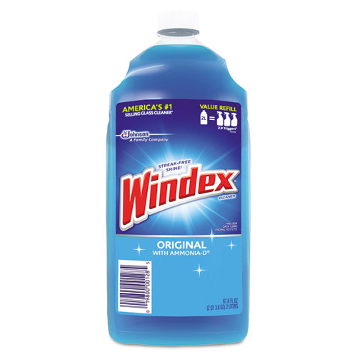 Windex® Glass Cleaner with Ammonia-D, 67.6oz Refill, Unscented, 6/Carton