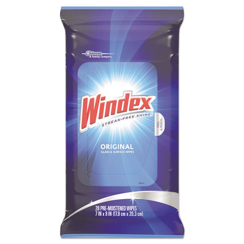Windex® Glass & Surface Wet Wipe, Cloth, 7 x 10, 28/Pack