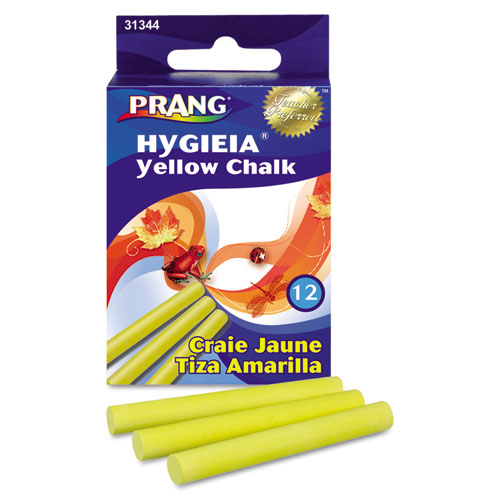 Hygieia Dustless Board Chalk, 3 1/4 x 0.38, Yellow, 12/Box