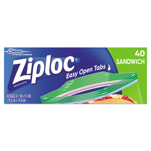 Ziploc® Resealable Sandwich Bags, 6 1/2 x 5 7/8, 1.2 mil, Clear, 40/Box, 12 BX/CT