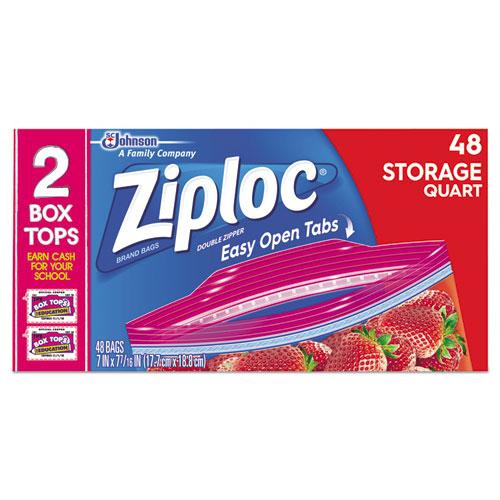 Ziploc® Double Zipper Storage Bags, 9 3/5 x 8 1/2, 1 qt, 1.75mil, 9/Carton
