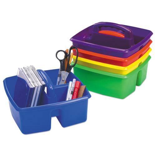 Storex Small Art Caddies, 9.25 x 9.25 x 5.25, Blue/Red/Yellow/Green/Purple, 5 per pack