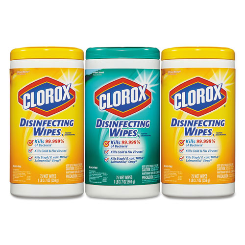 Clorox® Disinfecting Wipes, 7 x 8, Fresh Scent/Citrus Blend, 75/Canister, 3/Pk