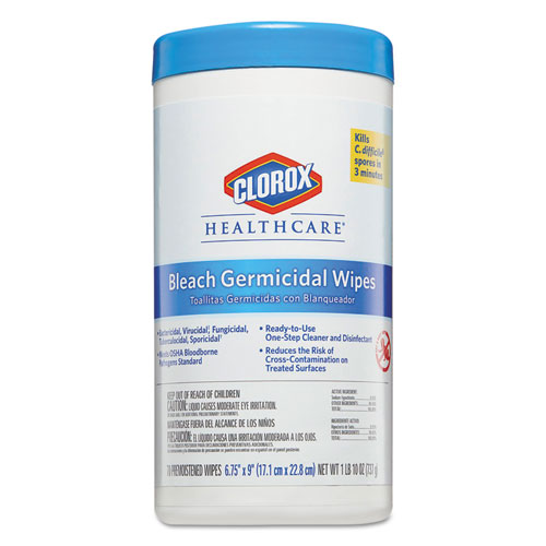 Bleach Germicidal Wipes, 6 3/4 x 9, Unscented, 70/Canister | by Plexsupply