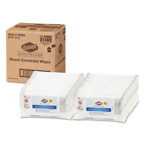 Clorox® Healthcare® Bleach Germicidal Wipes, 6 3/4 x 9, Unscented, 20/Pack, 24 Packs/Carton