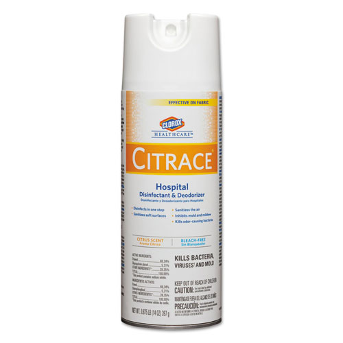 Citrace Hospital Disinfectant  Deodorizer, Citrus, 14oz Aerosol, 12/Carton