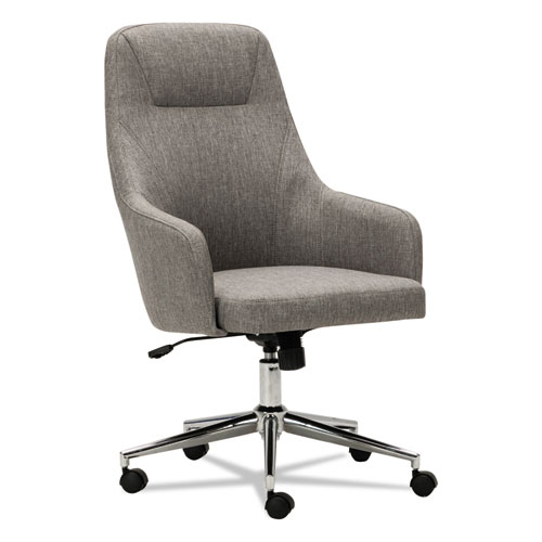 Alera Captain Series High-Back Chair, Supports up to 275 lbs, Gray Tweed Seat/Gray Tweed Back, Chrome Base