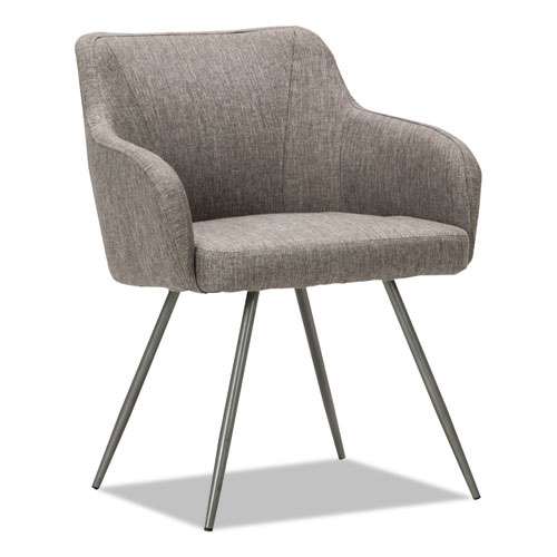 """Alera Captain Series Guest Chair, 23.8"""" x 24.6"""" x 30.1"""", Gray Tweed Seat/Back, Chrome Base"""