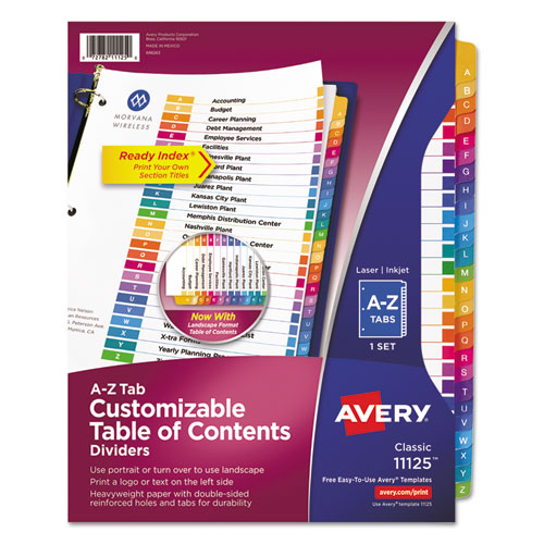 Customizable TOC Ready Index Multicolor Dividers, 26-Tab, Letter | by Plexsupply
