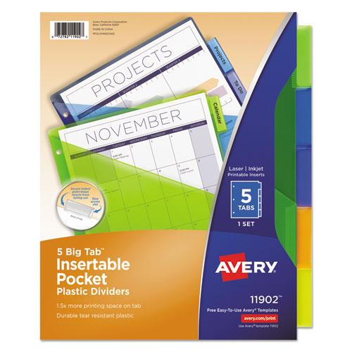 Insertable Big Tab Plastic Dividers Wsingle Pockets 5 Tab 11 18