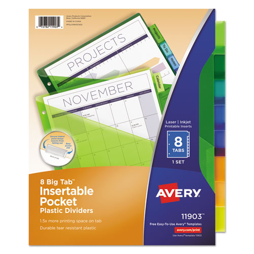 8 large tab insertable dividers template - insertable big tab plastic dividers w single pockets 8