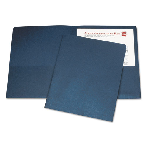 7510005842489 SKILCRAFT Double Pocket Portfolio, Letter Size, Dark Blue, 25/Box