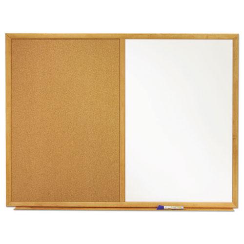 Bulletin/Dry-Erase Board, Melamine/Cork, 48 x 36, White/Brown, Oak ...