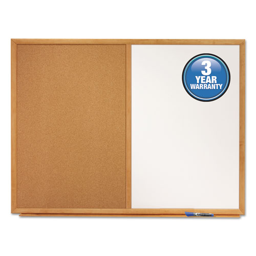 Bulletin/Dry-Erase Board, Melamine/Cork, 48 x 36, White/Brown, Oak Finish Frame | by Plexsupply