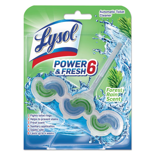 LYSOL® Brand Power & Fresh 6 Automatic Toilet Bowl Cleaner, Forest Rain, 1.37 oz Clip-on