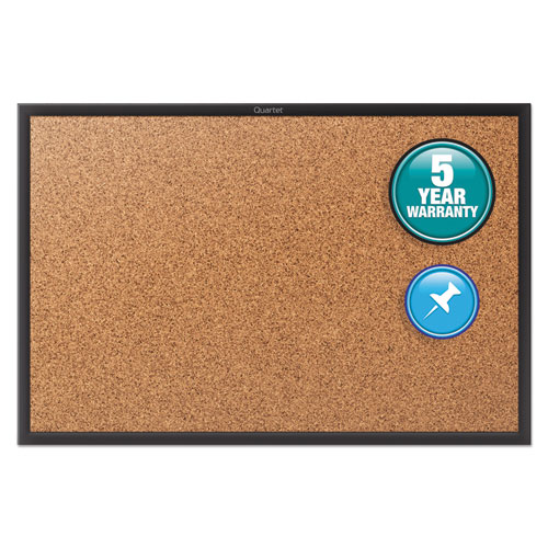 Classic Series Cork Bulletin Board, 72x48, Black Aluminum Frame | by Plexsupply