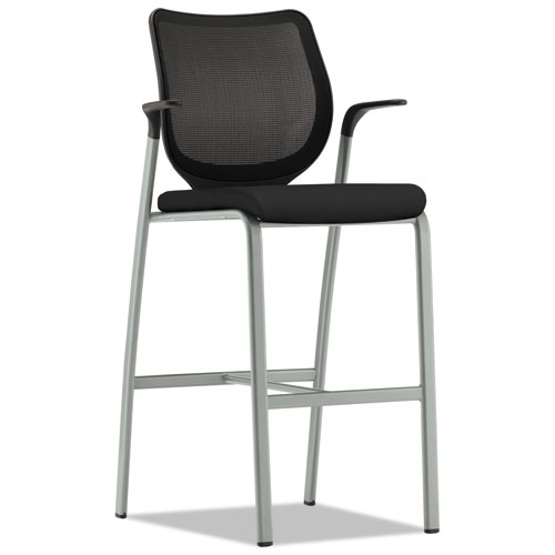 HON® Nucleus Series Café-Height Stool with ilira-Stretch M4 Back, Supports up to 300 lbs., Black Seat/Black Back, Platinum Base