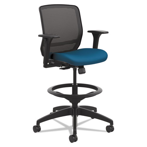 Quotient Series Mesh Mid-Back Task Stool, 33 Seat Height, Supports up to 300 lbs., Peacock Seat/Black Back, Black Base