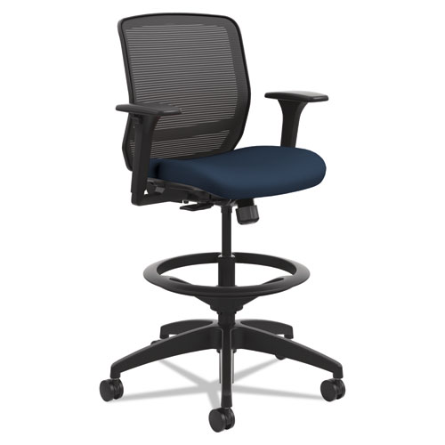 Quotient Series Mesh Mid-Back Task Stool, 33 Seat Height, Supports up to 300 lbs., Navy Seat/Black Back, Black Base