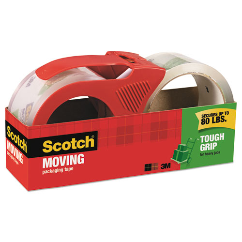 Tough Grip Moving Packaging Tape, 3 Core, 1.88 x 54.6 yds, Clear, 2/Pack