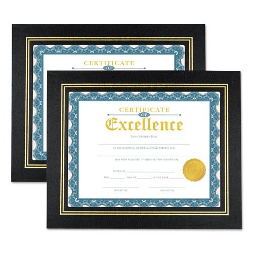 Leatherette Document Frame, Certificate/Document, 11 x 8 1/2, Black, 2/PK