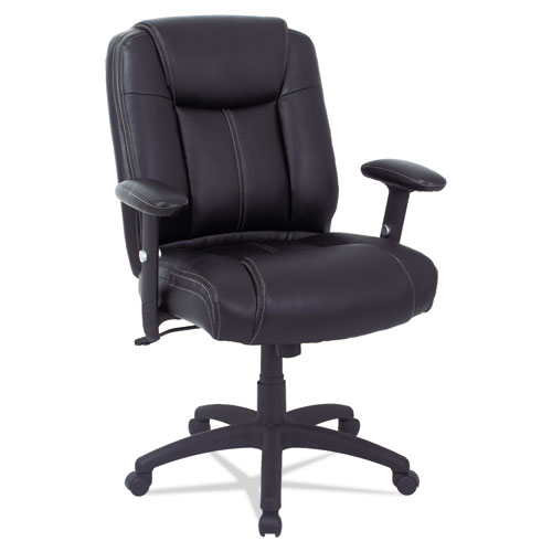 Alera CC Series Executive Mid-Back Bonded Leather Chair with Adjustable Arms, Supports up to 275 lbs, Black Seat/Back/Base