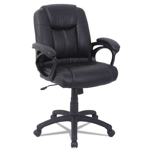 Alera CC Series Executive Mid-Back Bonded Leather Chair, Supports up to 275 lbs, Black Seat/Black Back, Black Base