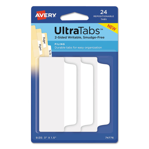 Ultra Tabs Repositionable Wide Tabs, 1/3-Cut Tabs, White, 3 Wide, 24/Pack