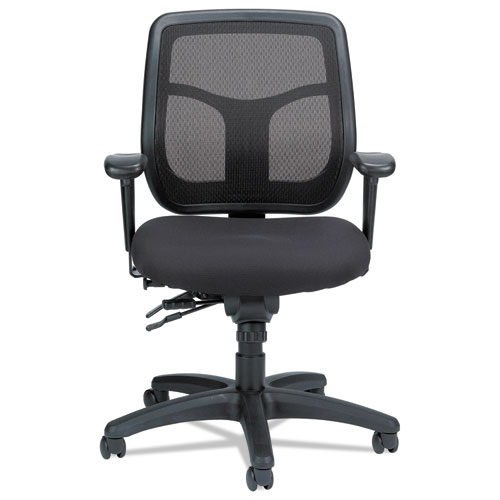 """Apollo Multi-Function Mesh Task Chair, Supports Up to 250 lb, 18.9"""" to 22.4"""" Seat Height, Silver Seat/Back, Black Base"""