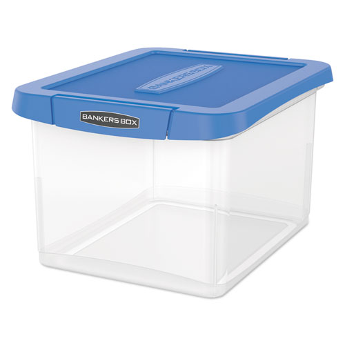 Heavy Duty Plastic File Storage, Letter/Legal Files, 14 x 17.38 x 10.5, Clear/Blue, 2/Pack